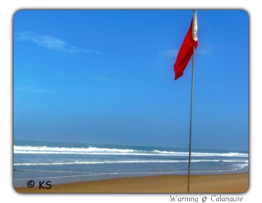 patrol warning at Calangute Beach