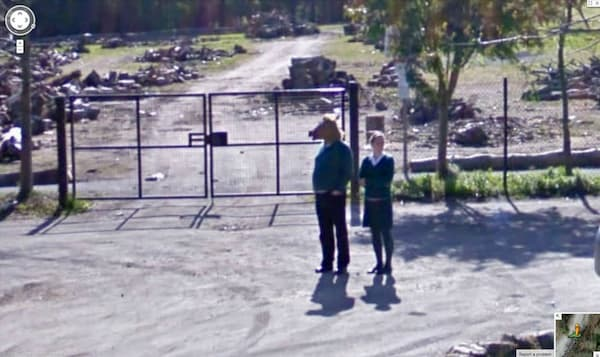 man horse head woman weird google street view